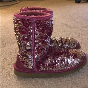 Ugg Red and Silver Sequin Ugg